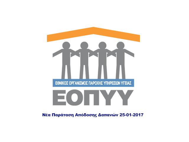 ΕΟΠΠΥ Νέα Παράταση Απόδοσης Δαπανών 25-01-2017